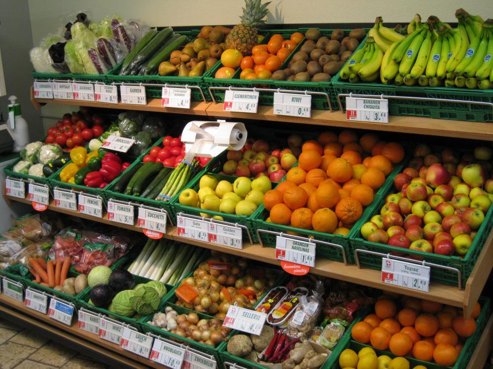 Unser grosses Früchte- und Gemüsesortiment.